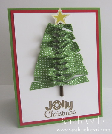 Christmas tree made of stitched satin ribbons sarahs for Using ribbon on christmas tree