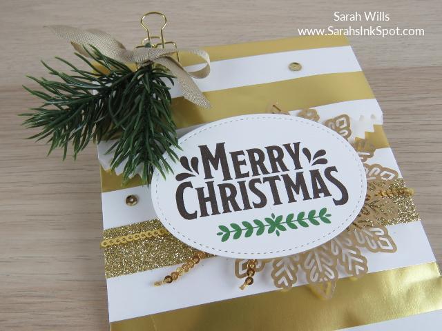 Stampin-Up-3D-Treat-Bag-Merry-Mistletoe-Sprigs-Gold-Snowflake-Idea-Sarah-Wills-Sarahsinkspot-Stampinup-TreatBagCloseUp
