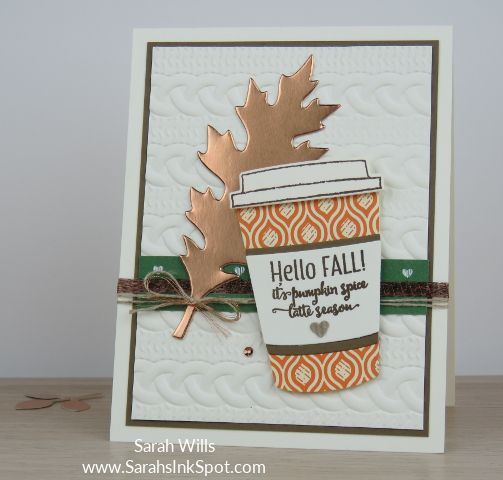 Stampin-Up-Merry-Cafe-Fall-Copper-Foil-Leaf-Pumpkin-Spice-Latte-Cable-Knit-Card-Idea-Sarah-Wills-Sarahsinkspot-Stampinup-MainShine2