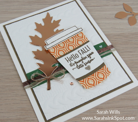 Stampin-Up-Merry-Cafe-Fall-Copper-Foil-Leaf-Pumpkin-Spice-Latte-Cable-Knit-Card-Idea-Sarah-Wills-Sarahsinkspot-Stampinup-SideView