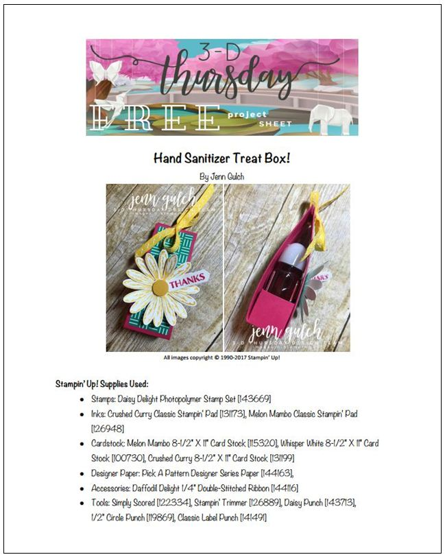 Stampin-Up-Card-3D-Hand-Sanitizer-Treat-Box-Daisy-Delight-Punch-Idea-Sarah-Wills-Sarahsinkspot-Stampinup-Project-Sheet-Photo