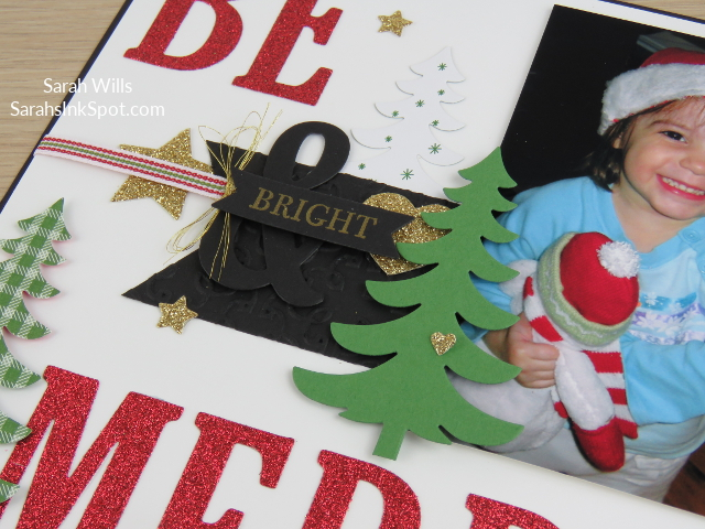Stampin-Up-8x8-Scrapbook-Page-Christmas-Large-Letters-Be-Merry-Glitter-Paper-Glimmer-Tree-Idea-Sarah-Wills-Sarahsinkspot-Stampinup-CloseUpa