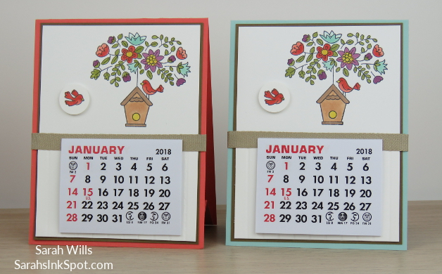 Stampin-Up-Calendar-Easel-Card-Holder-Vippies-Flying-Home-Bird-House-Nest-Tree-Table-Blends-Occasions-Catalog-Idea-Sarah-Wills-Sarahsinkspot-Stampinup-Both-Front
