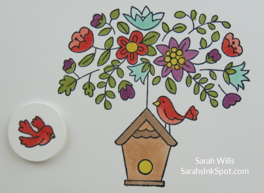 Stampin-Up-Calendar-Easel-Card-Holder-Vippies-Flying-Home-Bird-House-Nest-Tree-Table-Occasions-Catalog-Idea-Sarah-Wills-Sarahsinkspot-Stampinup-Blends-Watercolor- Coloring