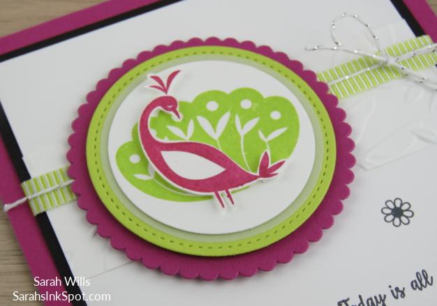 Stampin-Up-Inky-Friends-Blog-Saleabration-SAB-Hop-Beautiful-Peacock-Friend-Thank-You-Card-Idea-Sarah-Wills-Sarahsinkspot-Stampinup-Black-White-Pink-Side