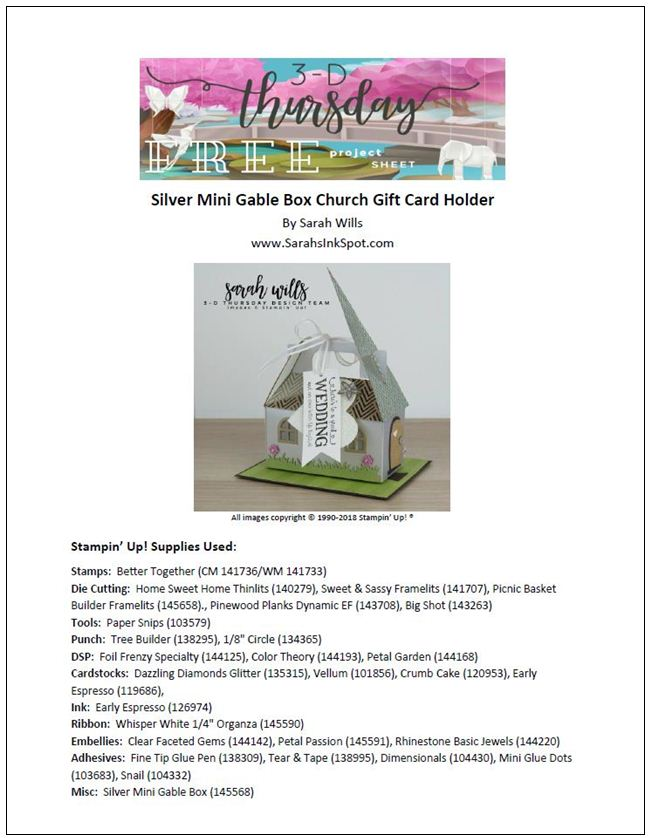 Stampin-Up-3D-Thursday-Blog-Hop-Occasions-2018-Silver-Mini-Gable-Box-Boxes-Home-Sweet-Home-Church-Wedding-Gift-Card-Idea-Sarah-Wills-Sarahsinkspot-Stampinup-Project-Sheet-Cover