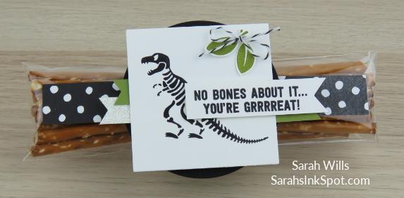 Stampin-Up-No-Bones-About-It-Dinosaur-TRex-Skeleton-Kids-Birthday-Card-Party-Favor-Idea-CAS-Sarah-Wills-Sarahsinkspot-Stampinup-Pretzels