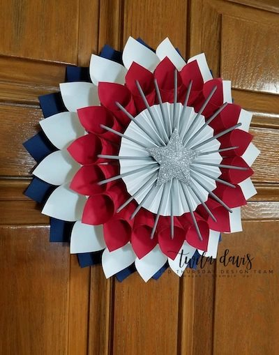 Stampin-Up-3D-Thursday-Patriotic-Paper-Cone-Wreath-July-4th-Memorial-Day-Flag-Red-White-Blue-Home-Decor-Door-Idea-Sarah-Wills-Sarahsinkspot-Stampinup-Side