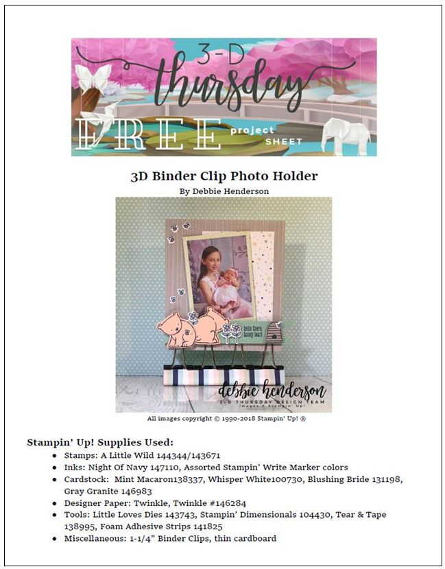 Stampin-Up-3D-Thursday-Binder-Clip-Photo-Holder-Display-A-Little-Wild-Loves-Twinkle-Idea-Sarah-Wills-Sarahsinkspot-Stampinup-Cover