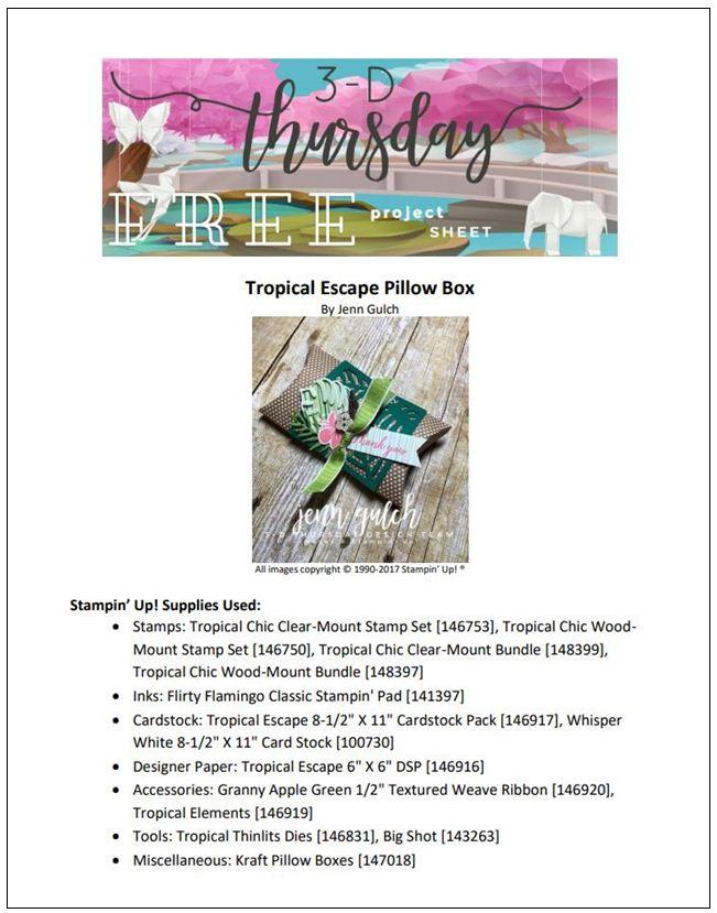 Stampin-Up-3D-Thursday-Tropical-Chic-Escape-Elements-Kraft-Pillow-Box-Boxes-Idea-Sarah-Wills-Sarahsinkspot-Stampinup-Cover