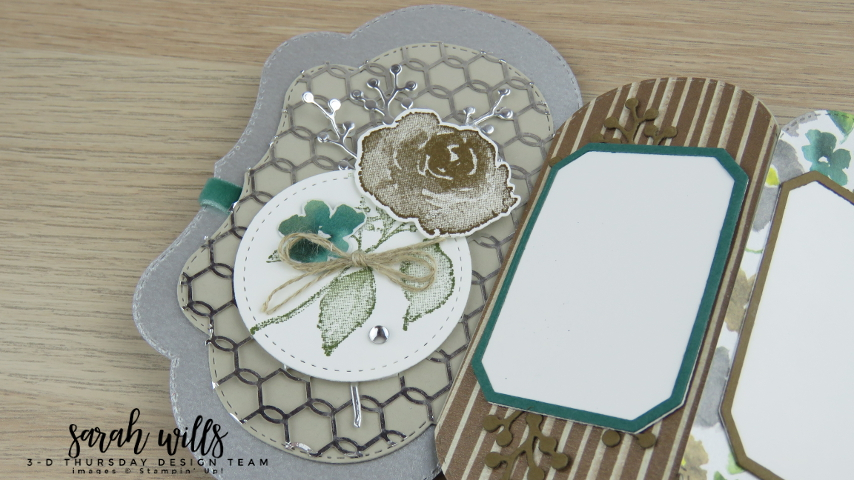 Stampin-Up-2018-Holiday-Catalog-3D-Stitched-Seasons-149013-First-Frost-Bundle-Frosted-Bouquet-Floral-Feathers-Galvanized-Concertina-Card-Album-Project-Sheet-Sarah-Wills-Sarahsinkspot-Stampinup-Front