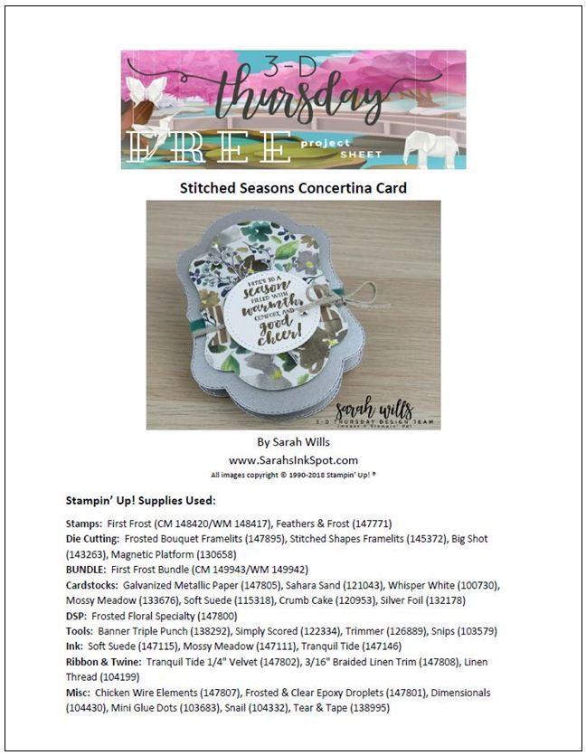 Stampin-Up-2018-Holiday-Catalog-3D-Stitched-Seasons-First-Frost-Bundle-Frosted-Bouquet-Floral-Feathers-Galvanized-Concertina-Card-Album-Project-Sheet-Sarah-Wills-Sarahsinkspot-Stampinup-Cover