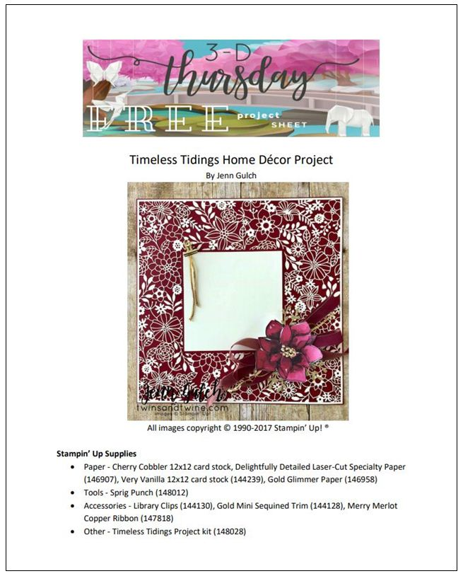 Stampin-Up-3D-Thursday-Home-Decor-Photo-Frame-Scrapbook-Page-Idea-Delightfully-Detailed-Laser-Cut-Timeless-Tidings-Project-Kit-Sarah-Wills-Sarahsinkspot-Stampinup-Cover