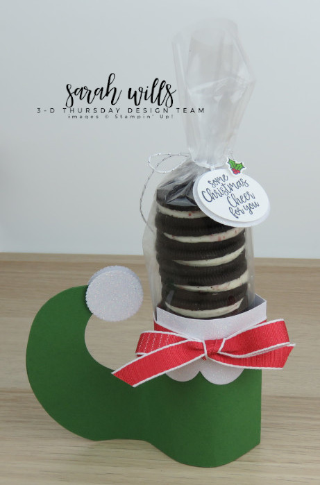 Stampin-Up-3D-Thursday-Elf-Shoe-Treat-Holder-Cookies-Oreo-Christmas-Holiday-Santa-Tutorial-Idea-Sarah-Wills-Sarahsinkspot-Stampinup-1