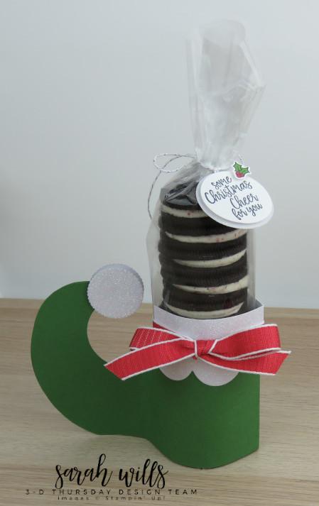 Stampin-Up-3D-Thursday-Elf-Shoe-Treat-Holder-Cookies-Oreo-Christmas-Holiday-Santa-Tutorial-Idea-Sarah-Wills-Sarahsinkspot-Stampinup-4