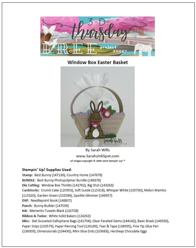 Stampin-Up-3D-Thursday-Easter-Bunny-Basket-Best-Bunny-Builder-Punch-Window-Box-Idea-Sarah-Wills-Sarahsinkspot-Stampinup-Cover