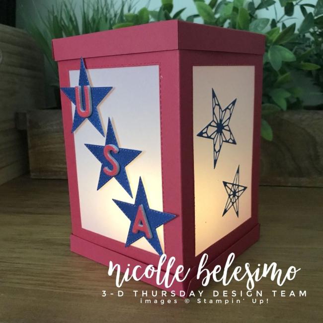 3-D stampin up papercraft patriotic lantern luminary July 4th